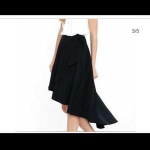Black midi skirt with hi lo hem